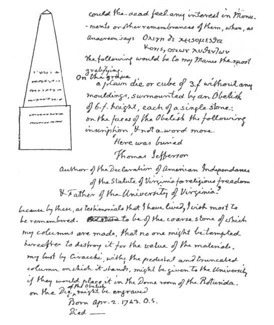 Jefferson's design notes for his grave marker.