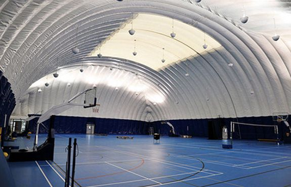 """A """"pollution dome"""" covers the basketball courts at the Dulwich College in Beijing"""