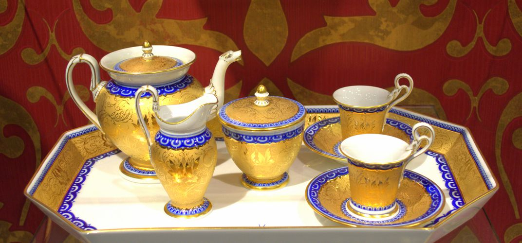 Display of Meissen porcelain