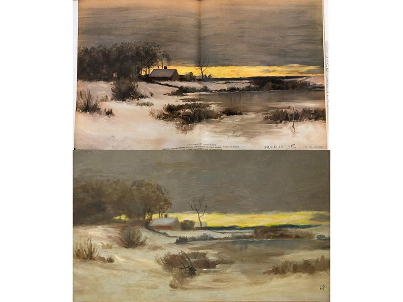On top, the instructional image has a fold in the center where it fit into the magazine; a yellow streak of sunset, gray clouds; and a farmhouse; the same image is virtually the same, although less crisply defined, in Hopper's oil painting below