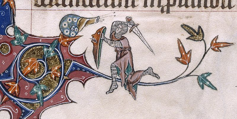 A 14th-century depiction of a knight battling a snail, as illustrated in the margins of the Gorleston Psalter