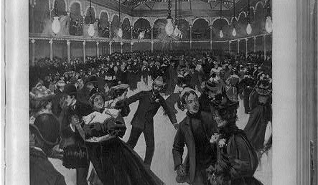 A March 1896 edition of the newspaper <i>Leslie's Weekly</i> depicts crowds of people flooding the St. Nicholas artificial ice rink in New York City.