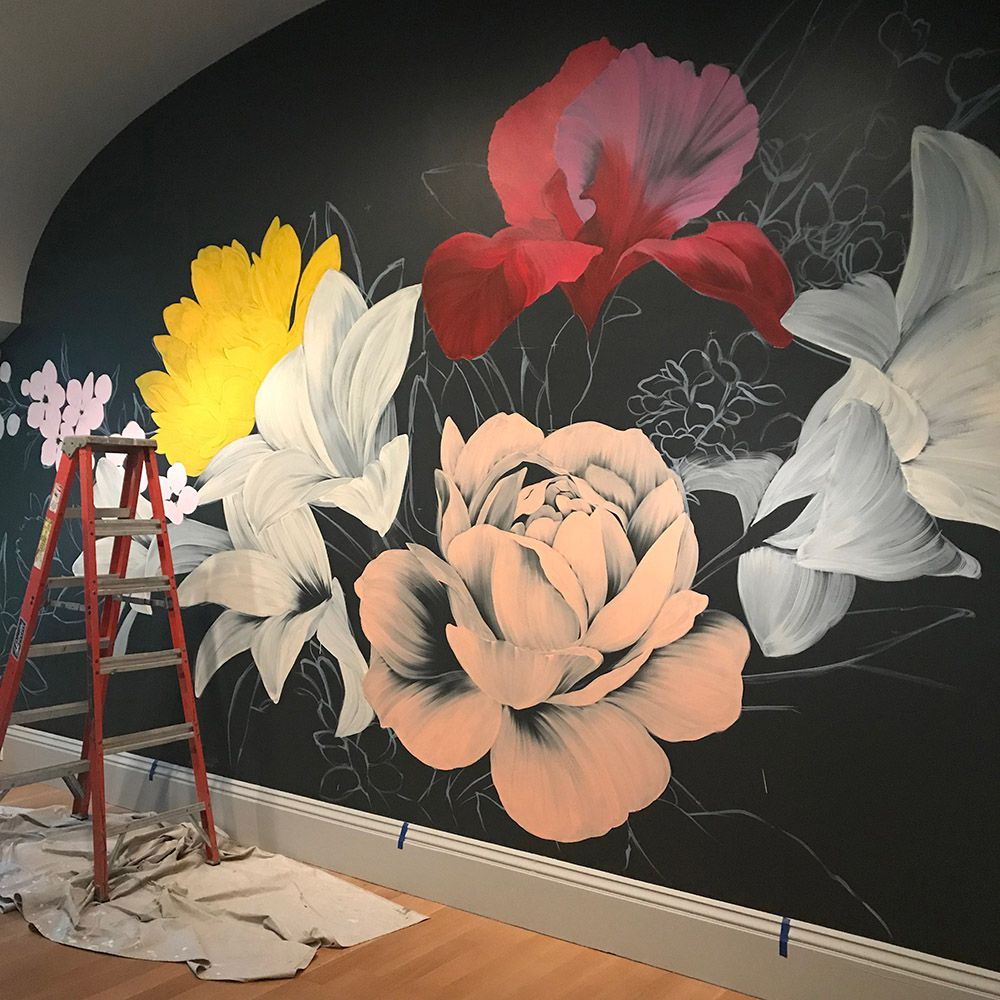 In progress photo of the mural.