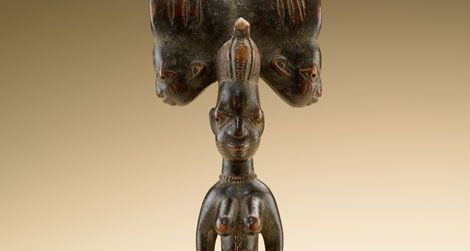 Shango's most popular symbol, the double ax staff signifies the diety's ability to reward the good and punish the bad.