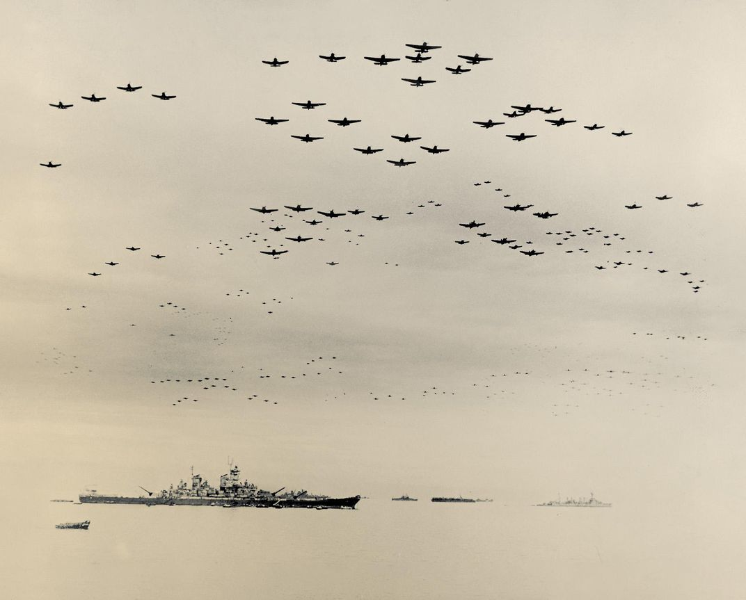 U.S. Navy carrier aircraft fly over Tokyo Bay