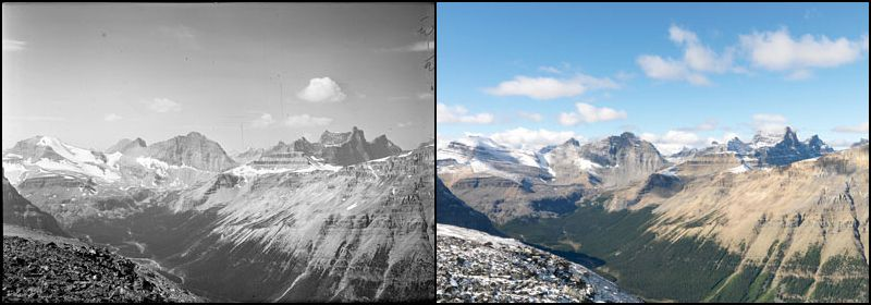 Mountains in the Siffleur Wilderness Area, Alberta, show changes in snow and tree line between 1927 and 2009.
