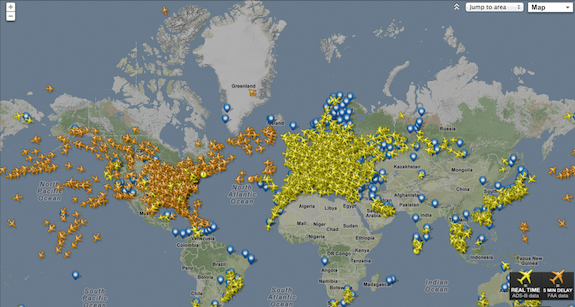 A map of every passenger plane in the skies at this instant smart this site tracks thousands of passenger planes as they fly around the world gumiabroncs Choice Image