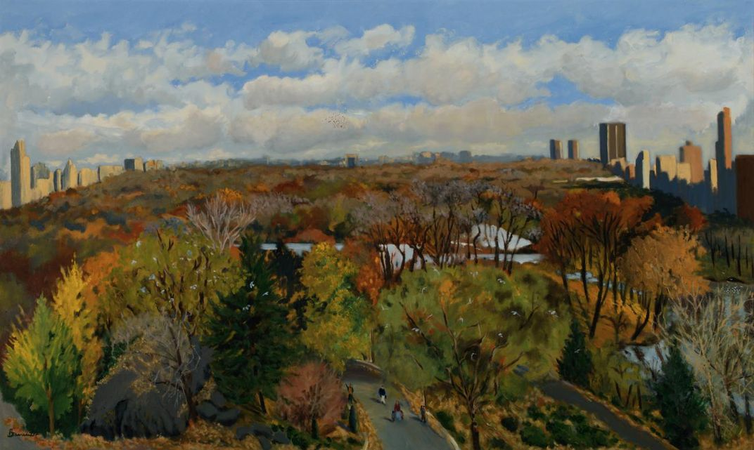 A painting of central park from above with fall leaves on the trees and a cloudy blue sky.