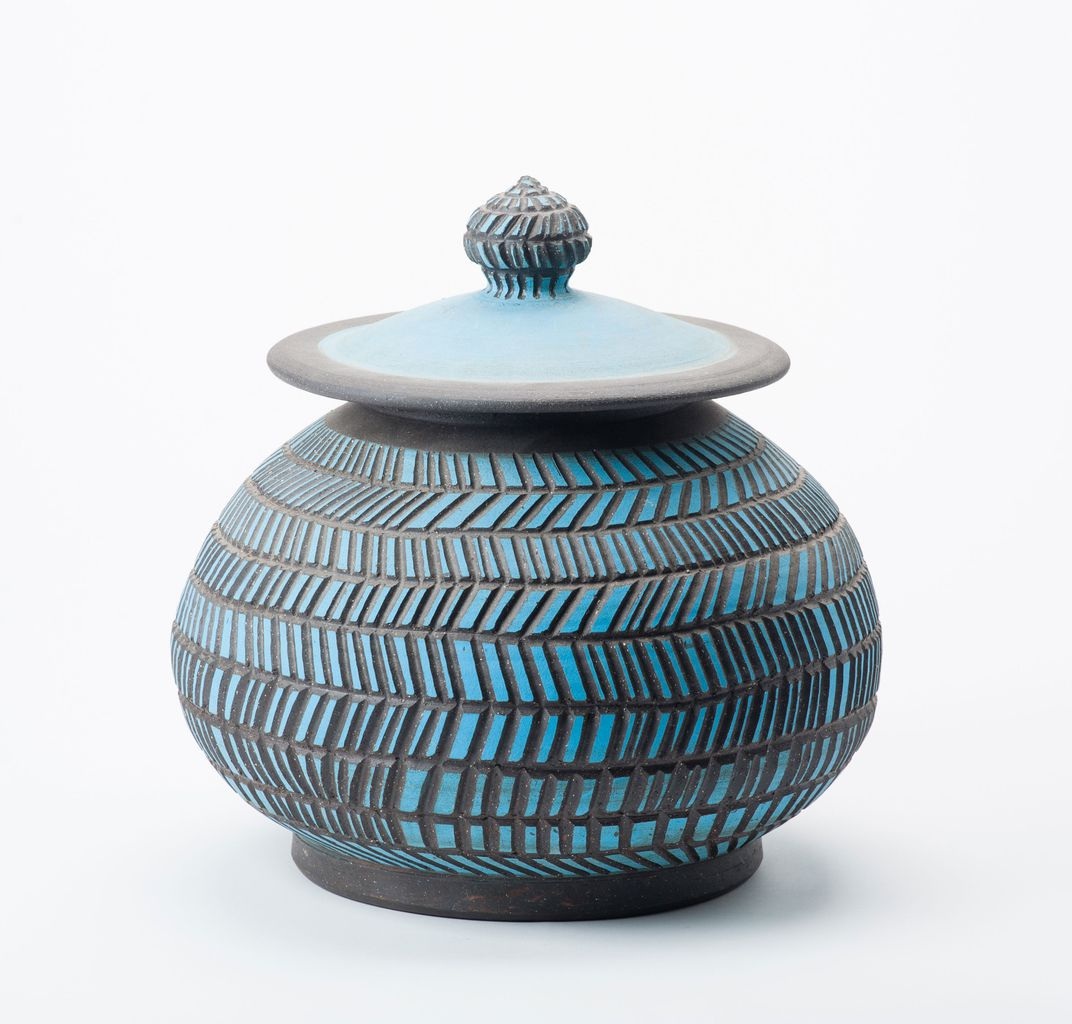 Carved Blue Jar