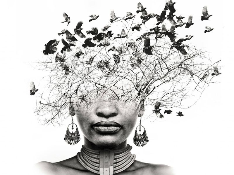 This a double exposure image. It represents that the mind is free like how birds are free to travel wherever they please.