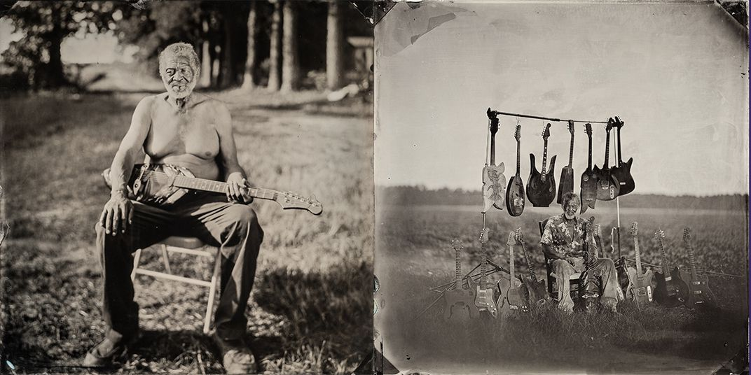 two photos of Vines sitting with guitars
