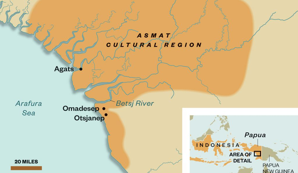 Map of the Asmat Cultural Region.