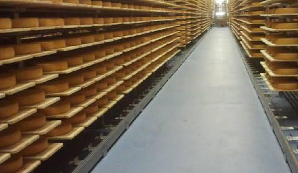 Seiler Käserei AG, a cheese manufacturer, ripens row upon row of its Raclette cheese in a former ammunition bunker.