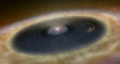 An artist's conception of the star LkCa 15 and the nearby protoplanet