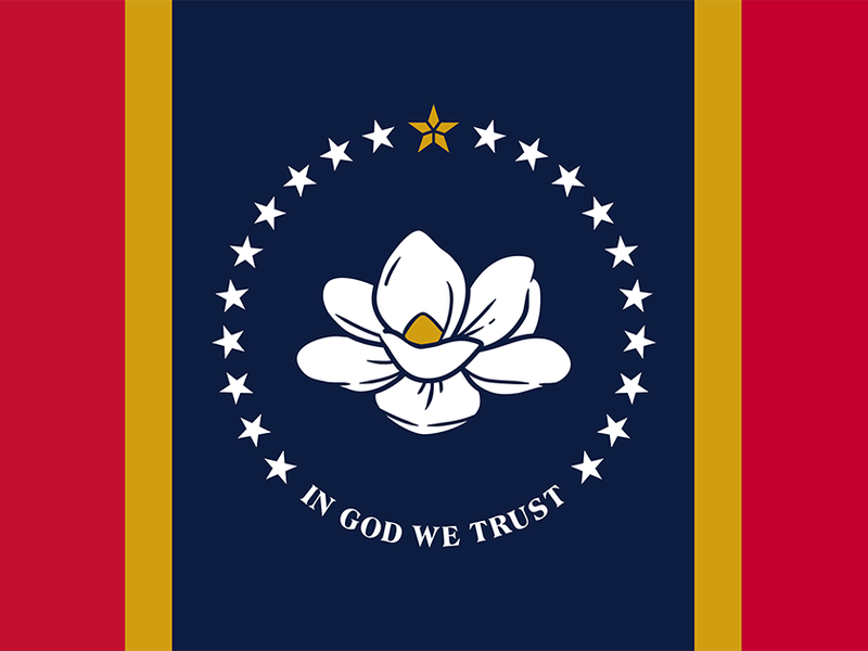 Two vertical thick red stripes and thin gold stripes flank either side of a navy blue stripe in the center, which boasts a large blooming white magnolia flower, its petals unfurling. Circled by 20 stars and white text below: