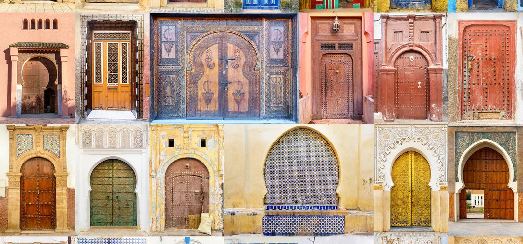 Collage of doors, Morocco