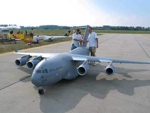 This 1/9th model of a C-17 actually flies.