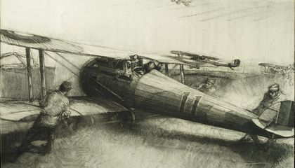 Harry Townsend sketched crews pushing aircraft into position after an alert.