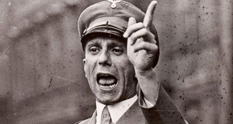 Nazi propaganda minister Joseph Goebbels makes a point.