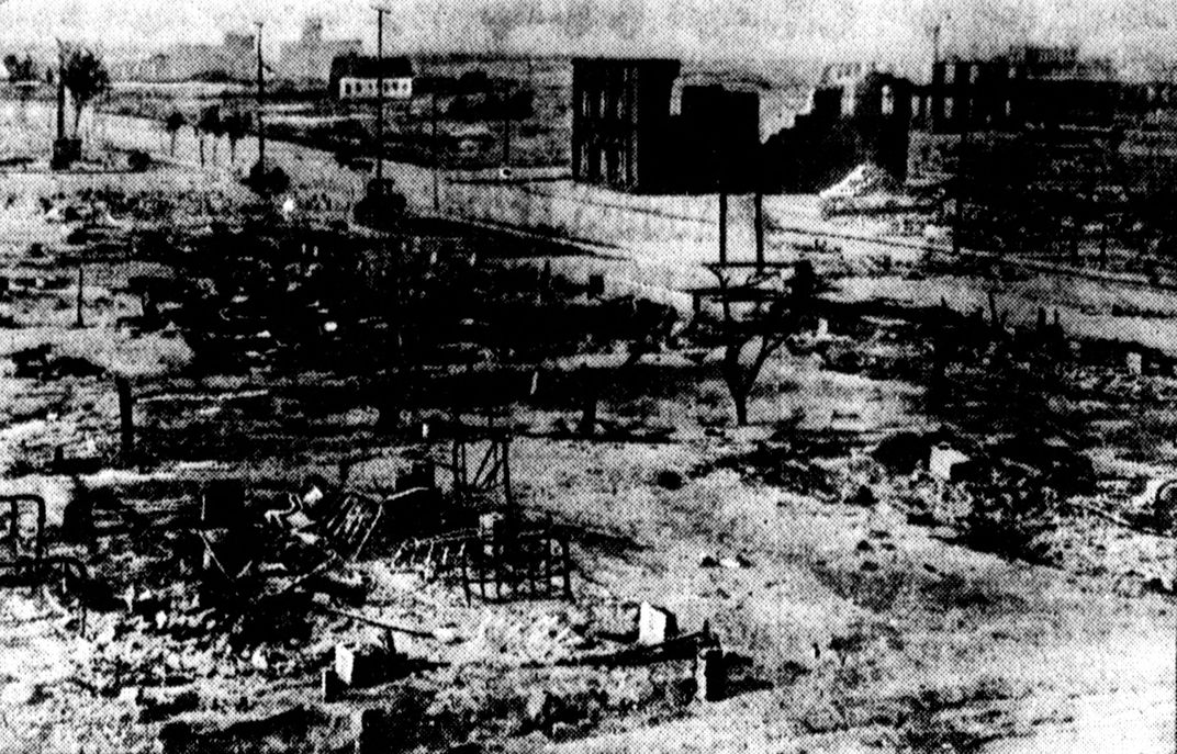 In 1921, white Tulsans razed the prosperous Black neighborhood of Greenwood, killing some 300 people. Pictured here are the ruins of the neighborhood