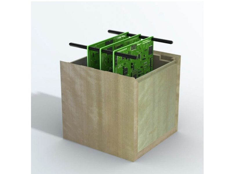 An illustration of the wooden satellite, which is essentially just a wooden box that protects the mechanical hardware inside