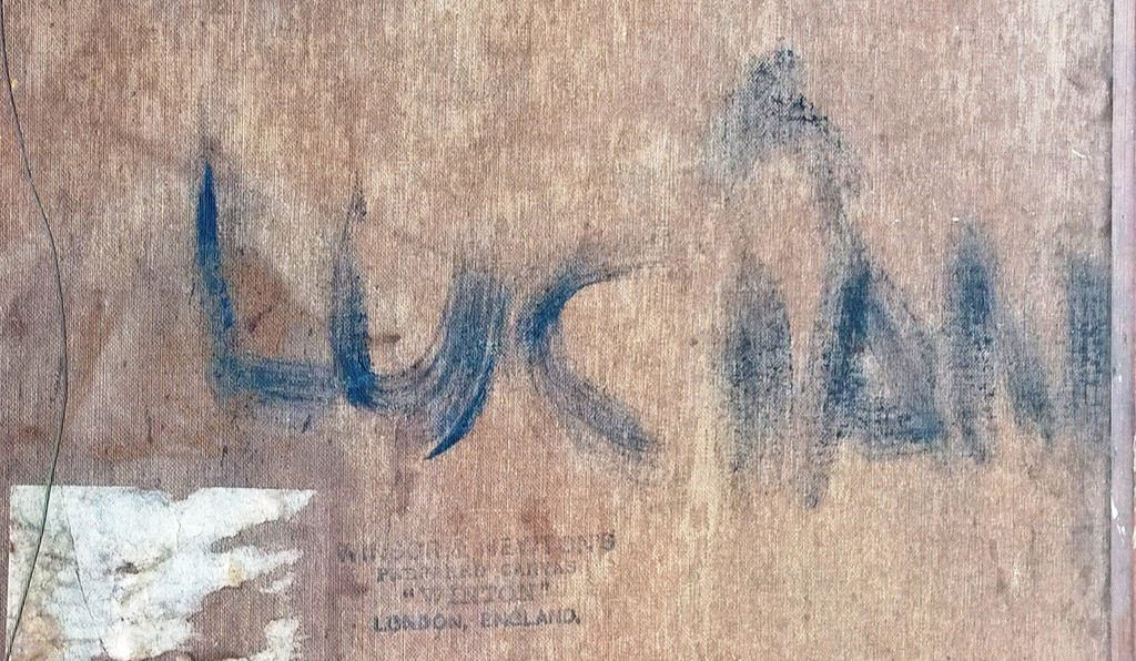 The signature on the back of the canvas
