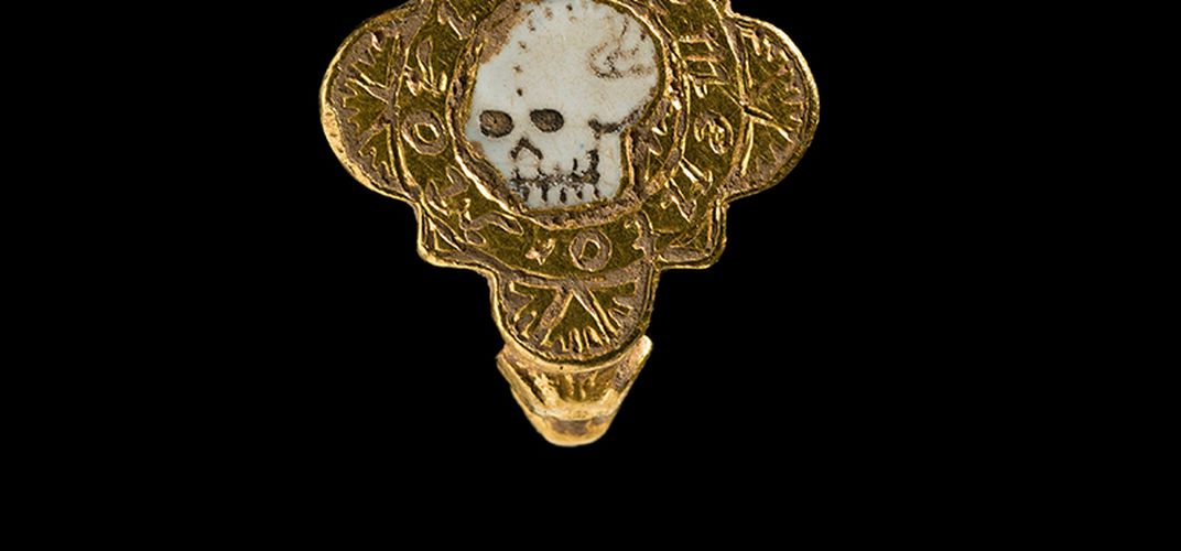 Caption: Medieval Gold Skull Ring Found in Wales