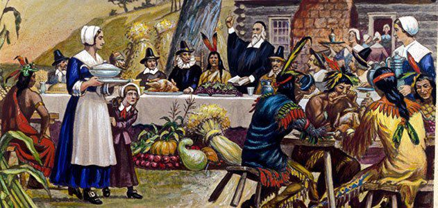 What was on the menu at the first Thanksgiving?