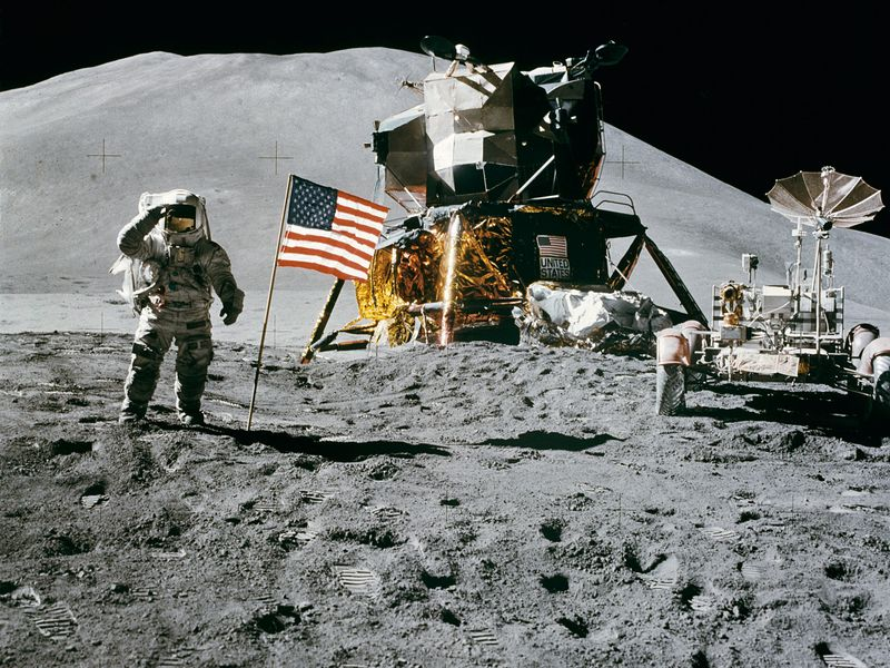 Astronauts' Footprints May Have Warmed the Moon Apollo_15_flag_rover_lm_irwin