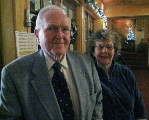 Reg and Barbara Clark in the theater lobby