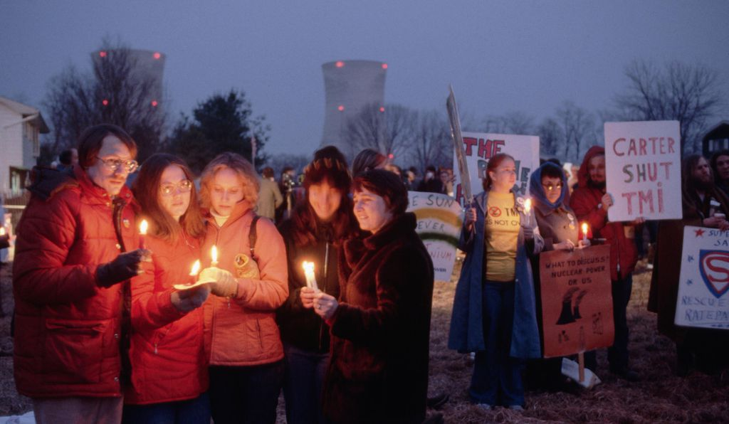 A candlelight vigil one year after the Three Mile Island accident held near Harrisburg, Pennsylvania, which is roughly ten miles from Middletown