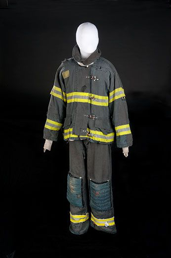 """Donated bunker gear worn by Leary in the show """"Rescue Me"""""""