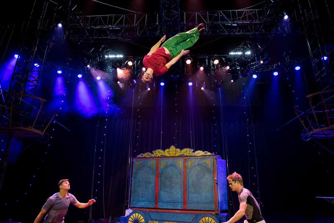 The show's teeterboarders (Alex Tehrani). Circus ...