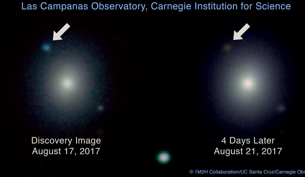 These two images show the glow from the neutron star collision on the night of discovery, August 17, and again four nights later.