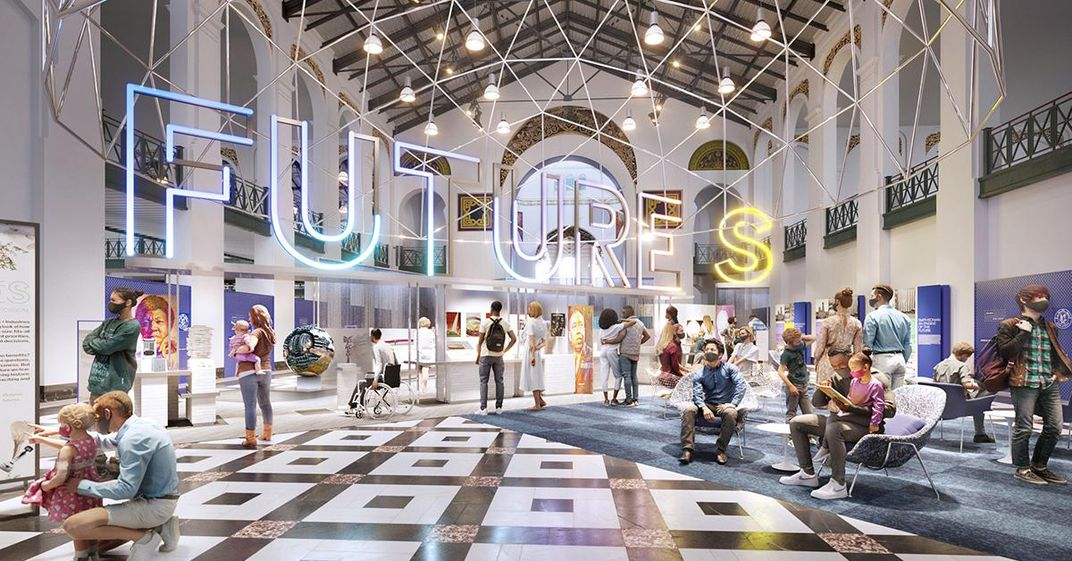"""Artist's rendering of """"Futures,"""" an upcoming exhibition at the Smithsonian's Arts and Industries Building (social)"""