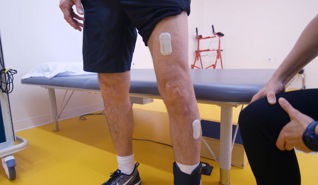 The sensors can be worn on the leg to detect motion and muscle activity. (Northwestern University)