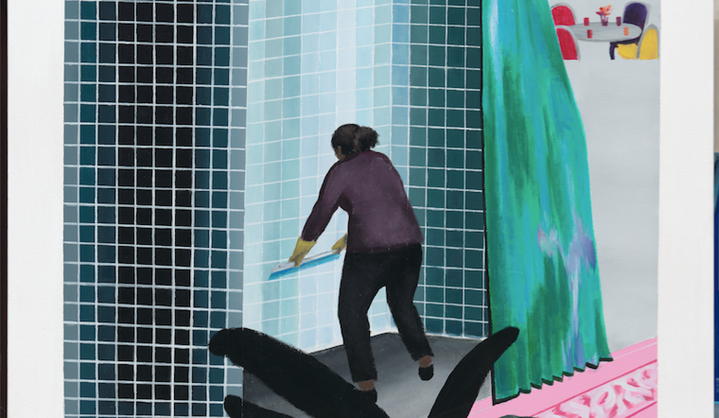 Woman Cleaning Shower in Beverly Hills (after David Hockney's Man Taking Shower in Beverly Hills, 1964) by Ramiro Gomez, acrylic on canvas, 2013.