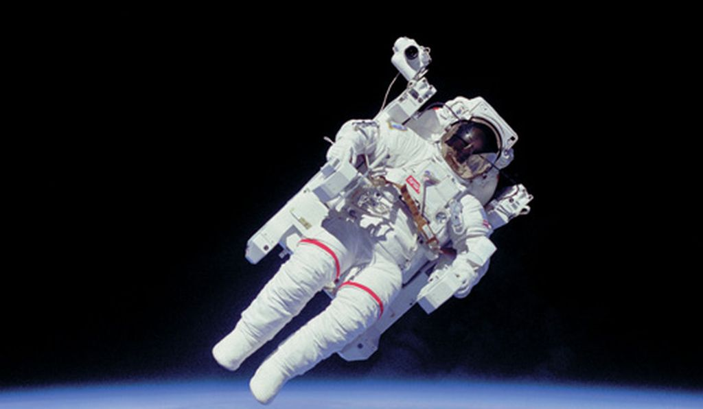 Bruce McCandless test drives the Manned Maneuvering Unit, Mission STS-41B, 1984.