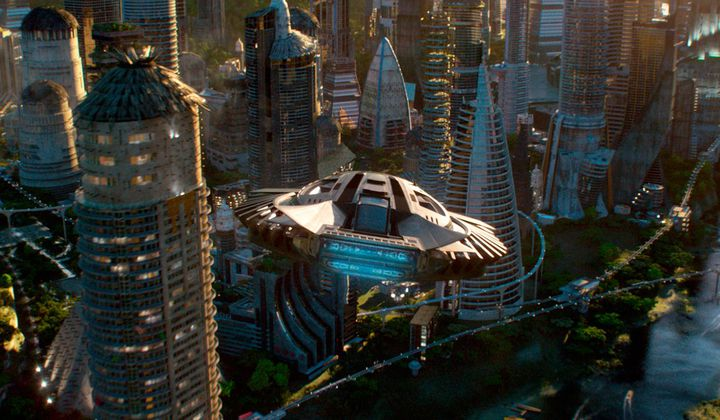 T'Challa's Royal Talon Fighter flying above Wakanda in the film Black Panther. Credit: Marvel Studios.