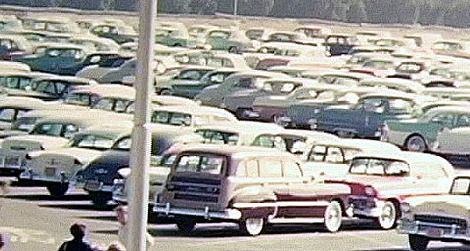 Some things never change: Disneyland's parking lot in the '50s.