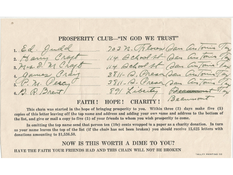 Send-a-Dime chain letter from 1935