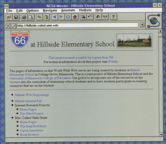 Hillside Elementary School's home page displayed in Mosaic for Windows (1995)