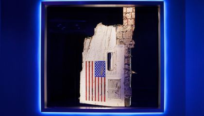 challenger space shuttle torn fuselage panel with flag