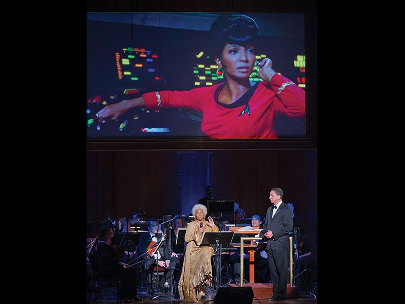 Nichelle Nichols in Stark Trek, above, and at the Kennedy Center, below