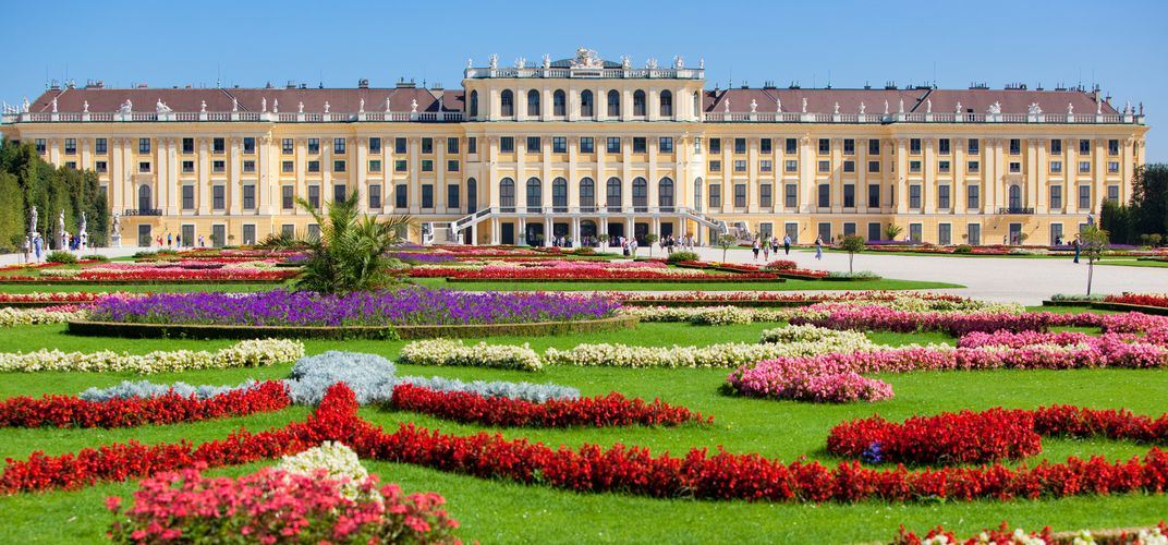 The gardens at Vienna's Schonbrunn Palace, summer residence of the Habsburgs and a World Heritage site, reflect a formal parterre.