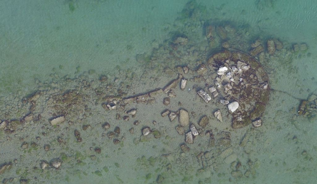 Remains of a round tower found in the Salamis Harbor