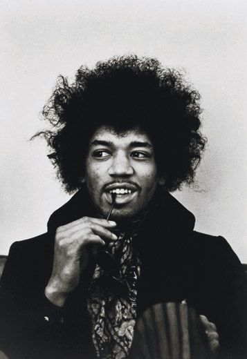 Rock guitarist and bandleader Jimi Hendrix (in 1967) brought blues-inspired psychedelic music into the mainstream (Linda McCartney/ NPG, SI)