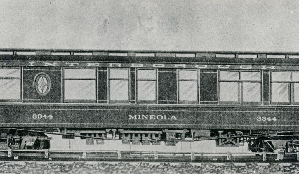 An exterior shot of Belmont's private subway car, the