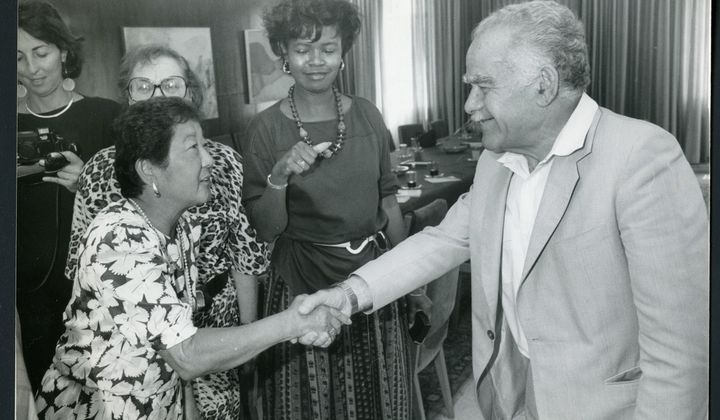 Photograph of Grayce Uyehara at the Ten Women in Leadership Conference, 1987 (AC1480-0000001, Grayce Uyehara Papers, Archives Center, National Museum of American History)