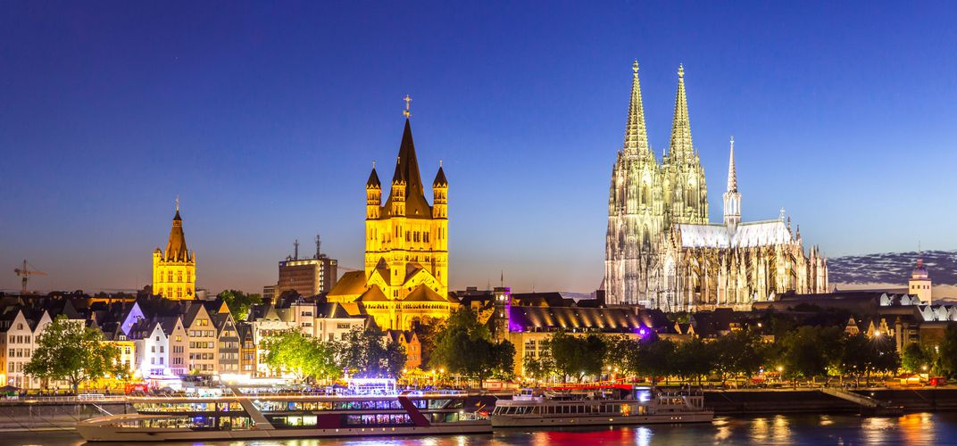 View of Cologne along the Rhine River
